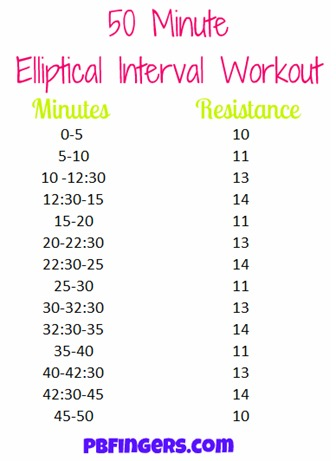 50 Minute Elliptical Interval Workout