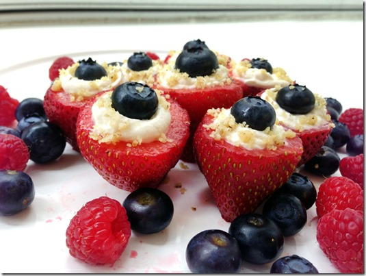 Red White Blue Stuffed Strawberries