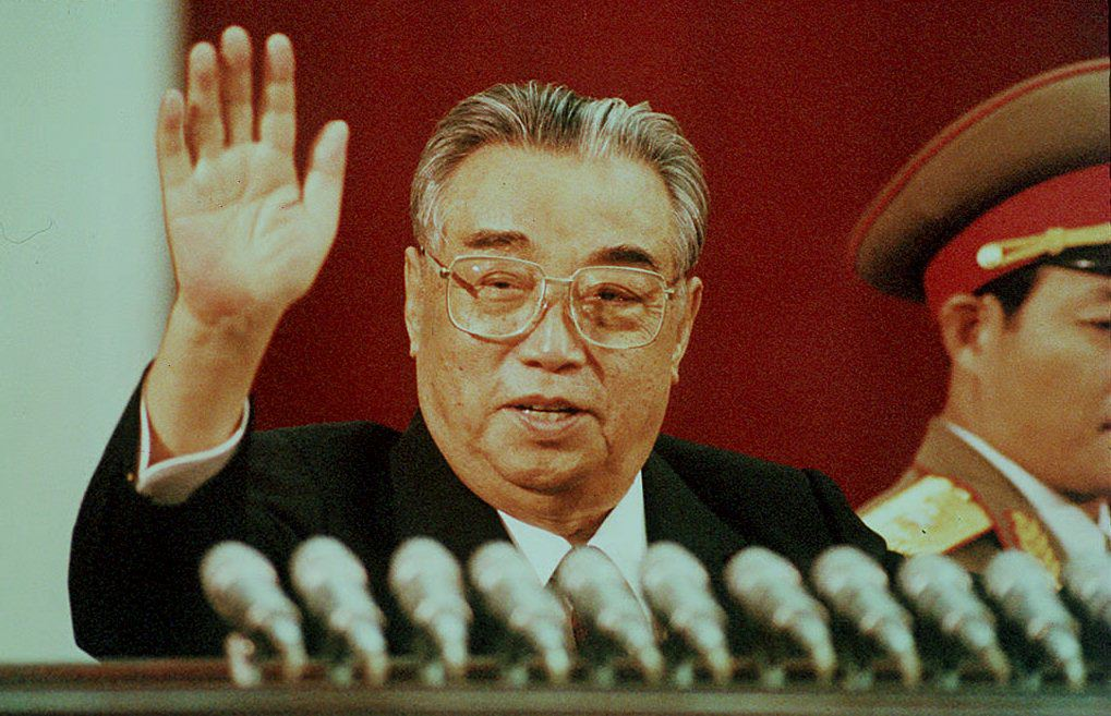 """PYONGYANG, NORTH KOREA:  This file picture dated 15 April 1992 shows North Korean President Kim Il-Sung waving during the celebration marking his 80th birthday at Kim Il-Sung stadium in Pyongyang. The Chinese government announced last week it would not send """"anyone"""" to attend Il-Sung's  92nd anniversary in response to North Korea's  refusal of international nuclear inspections. (Photo credit should read JIJI PRESS/AFP/Getty Images)"""