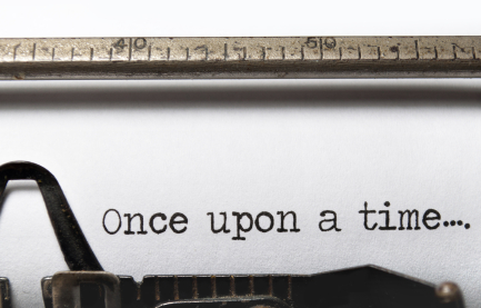 The beginning of a story on an old fashioned typewriter