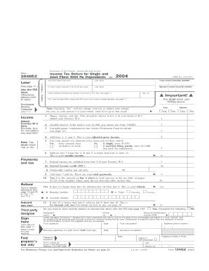 Fillable 2004 Form 1040ez - Fill Online, Printable, Fillable, Blank | PDFfiller
