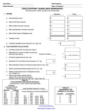 Mass Child Support Worksheet - Fill Online, Printable, Fillable, Blank | PDFfiller