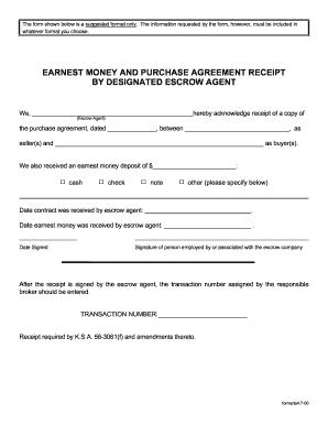 Kansas Earnest Money Agreement Form - Fill Online, Printable, Fillable, Blank | PDFfiller