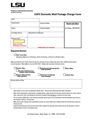 Finance amp Administrative Services USPS Domestic Mail Postage Fill Online, Printable, Fillable ...