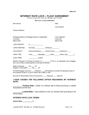 Fillable Online OR-ENG-INTEREST RATE LOCK - FLOAT AGREEMENT Fax Email Print - PDFfiller