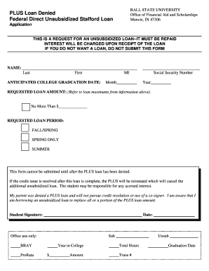 PLUS Loan Denied Federal Direct Unsubsidized Stafford bb Fill Online, Printable, Fillable, Blank ...
