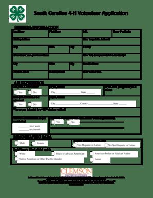 Fillable Online clemson South Carolina 4-H Volunteer Application - clemson Fax Email Print ...