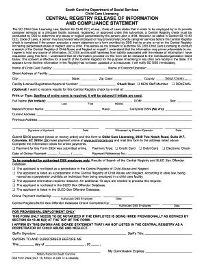 Fillable Online scchildcare DSS Form 2924 (OCT 13)_DSS ...