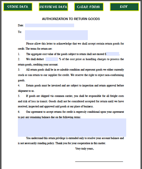 Return Goods Authorization Form Template Free Fillable
