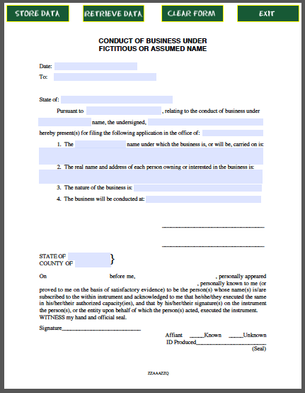 Conduct of business certificate template under fictitious for Nebraska certificate of organization template