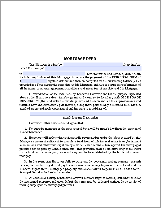 Mortgage Deed Form – Sample Mortgage Document