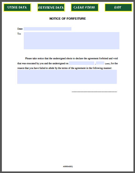 forfeiture notice template - notice of forfeiture free fillable pdf forms free