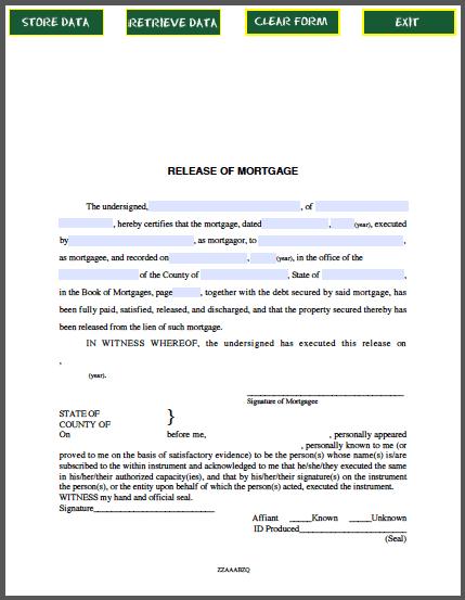 Release of Mortgage Certificate By Individual – Release of Mortgage Form