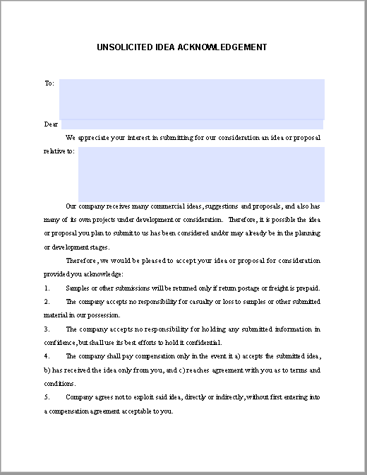 Unsolicited Idea Acknowledgement Agreement