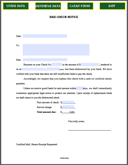 of a free sample bad check notice sample created as fillable pdf form