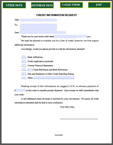 sample credit information request letter created as fillable pdf form