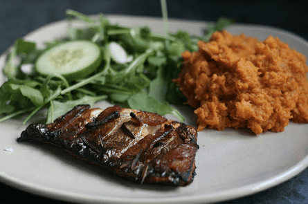Baked Bacon and Rosemary Seabass with Sweet Potato Mash