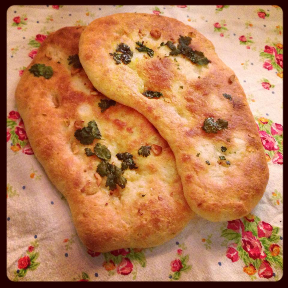 Garlic and coriander flatbreads