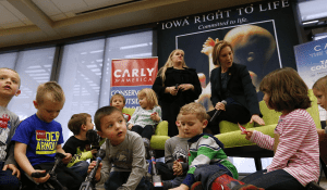 at Iowa anti-abortion rally Carly Fiorina uses children as props