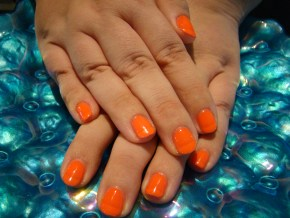 Neon Orange Bakersfield Manicure