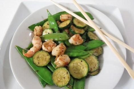Shrimp, Zucchini and Snow Pea Stirfry