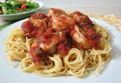 Tomato and Wild Blue Shrimp Pasta