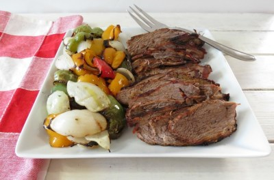 Grilled Tri Tip Roast with roasted Peppers and Onions