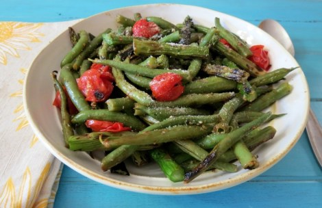 Grilled Asparagus with Green Beans and Roasted Tomatoes