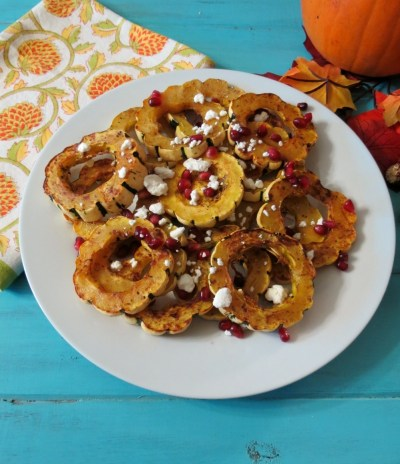 Baked Delicata Squash with Goat Cheese