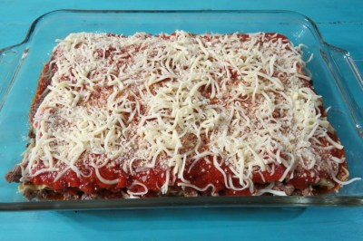 Three Cheese Meat Lasagna Going in the Oven