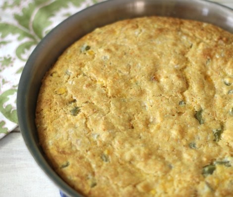 Jalapeno Cheese Cornbread in Skillet
