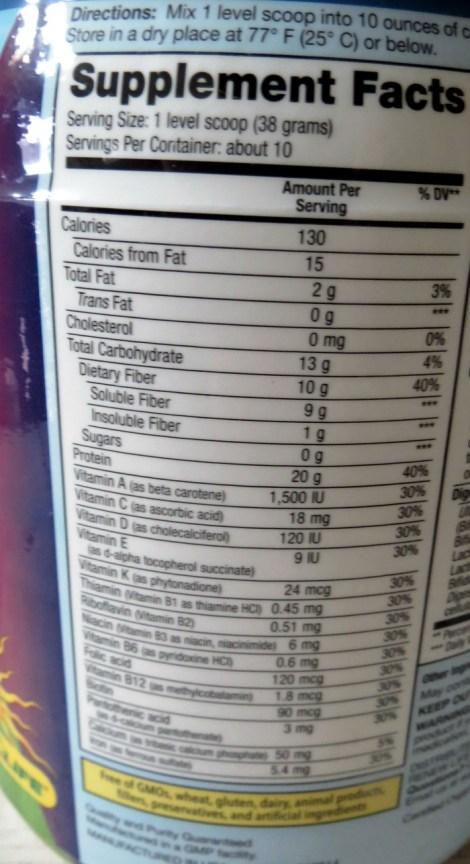 Skinny Gut Nutritional Stats