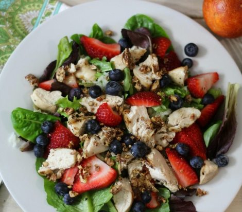 Chicken & Fruit Salad with Blood Orange Dressing