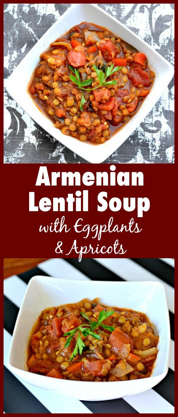 Armenian Lentil Soup with Eggplant and Apricots