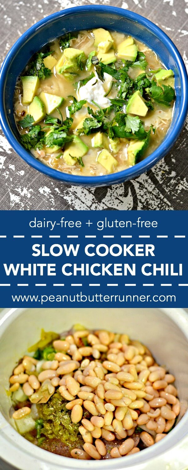 A slow cooker white chicken chili that's thickened with pureed white beans for a hearty, flavorful and dairy-free white chili.