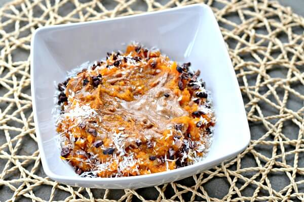 Sweet Potato Breakfast Bowls are a great alternative to oatmeal for a warm, filling breakfast. Paleo and Whole 30 approved. Good eggless breakfast option!