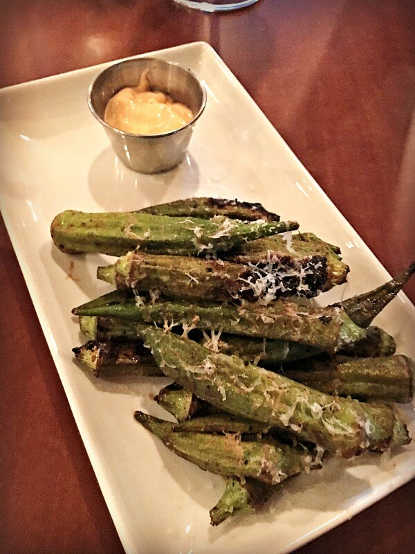 Grilled Okra at Foxcroft Wine Co