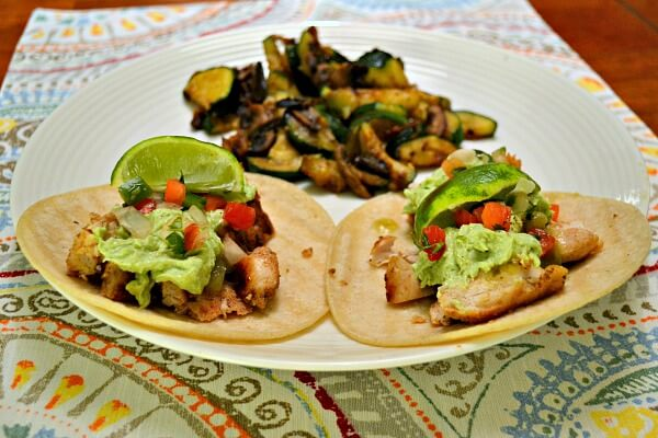 Grilled Chicken Tacos with Avocado Goat Cheese Sauce