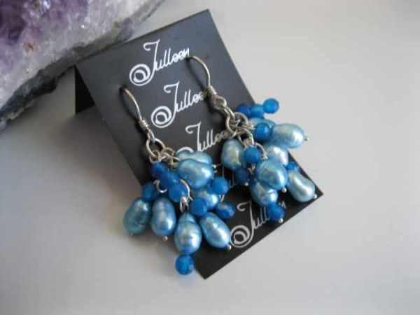 Rio Blue Pearl Cluster Earrings