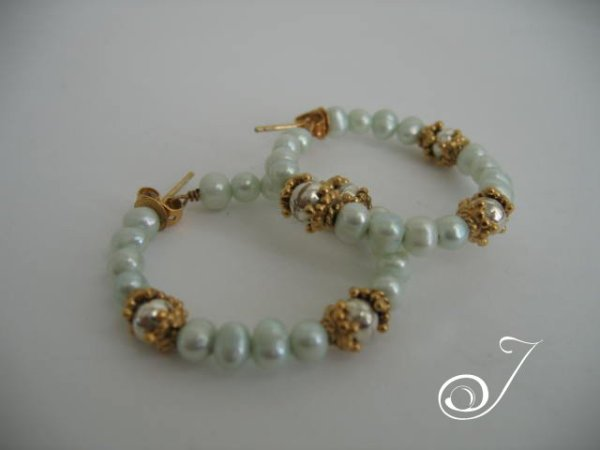 Mint Green Pearl Hoop Earrings