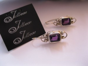 Amethyst Emerald Cut SS Earring
