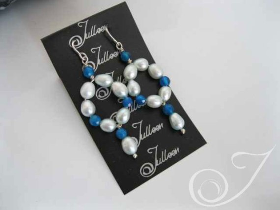 Keesha Blue Pearl Loop Earrings