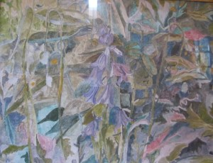"Bluebells Tempera on Board 16""x 20"" $1300"