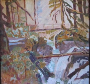 "Bridge in Forest: Olympic Peninsula Acrylic on Canvas 30""x 30"" $1600"