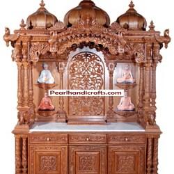 Teak Temple Pooja Mandir for Home Pearl Handicrafts