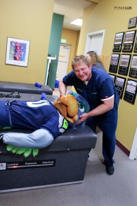 Blitz getting neck manipulated by dr P LR-1-M