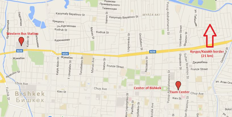 Map with Western Bus Station and Tsum Center (Bishkek Center)