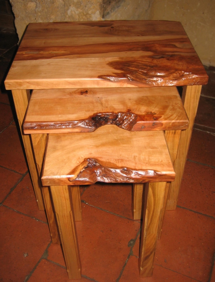 Rustic Pearwood Occassional Tables