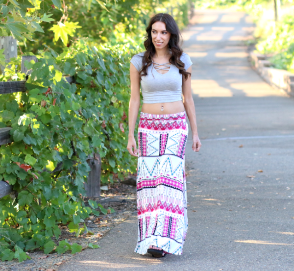 Printed maxi skirt and crop top