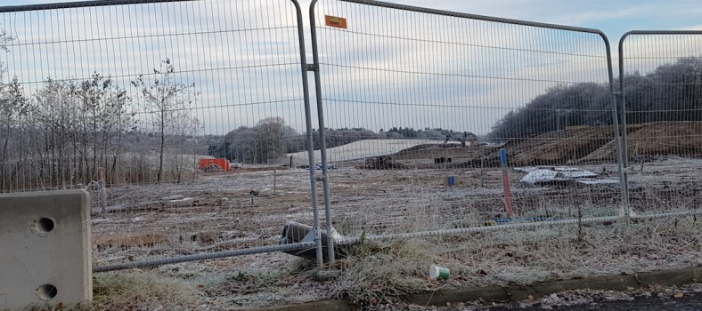 The construction site of the new A702 roundabout © Cuckoo